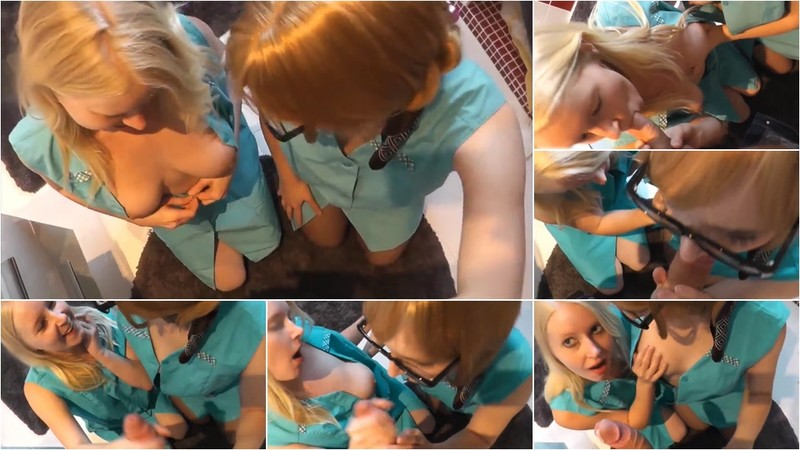 Anni-Trinity - Doppel-Blowjob von 2 Studentinnen [HD 720P]