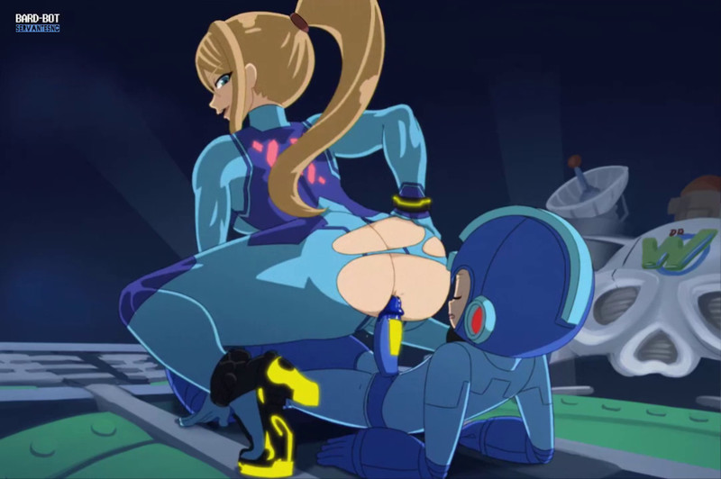 [2D] Samus Aran and Mega Man Change Oil by bard-bot | Metroid X Mega Man Hentai 1