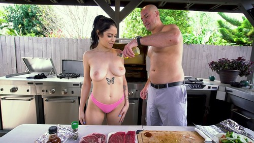 Gets Her Pussy Stuffed With Meat At A Bbq [HD]