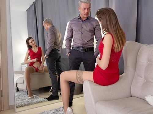 Alisha Brendy - Teeny In Red Plays With Cock