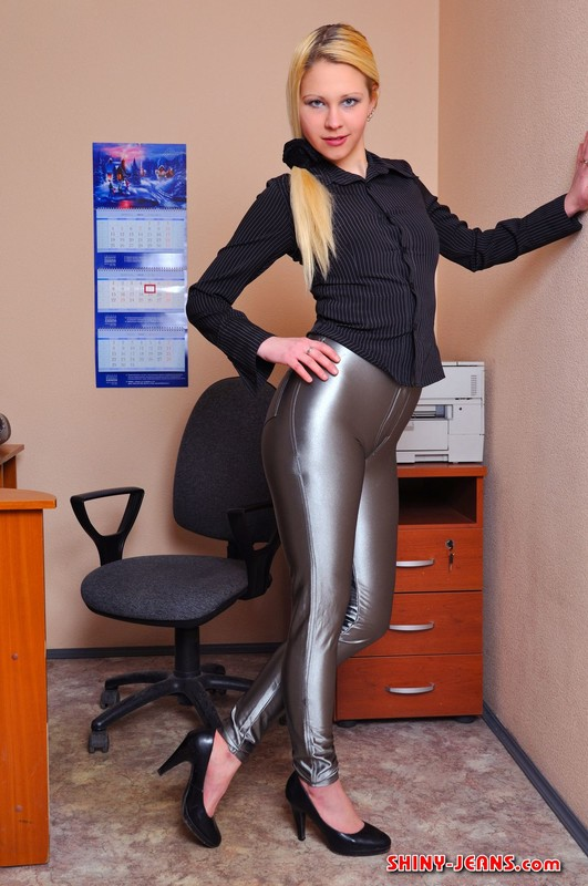 secretary girl Luda in sexy disco pants