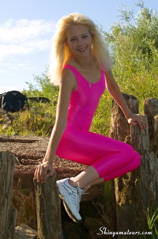 blonde gymnast Luda in kinky sportswear