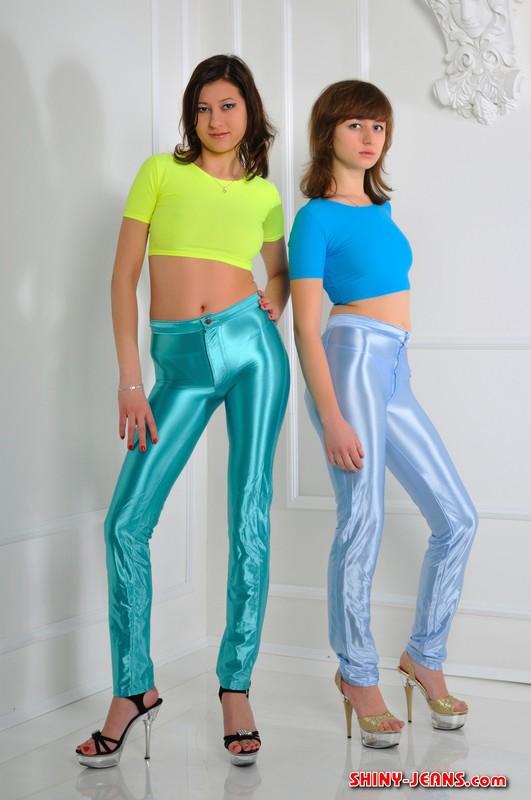 lesbian girls Dasha & Dasha in shiny disco pants
