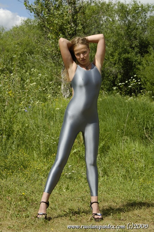 slavic model Anna in grey unitards & high heels
