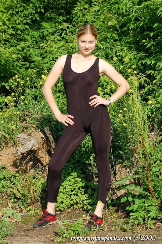 hot jogger lady in black skin tight unitards