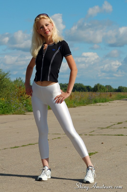 blonde college teen in sexy white leggings