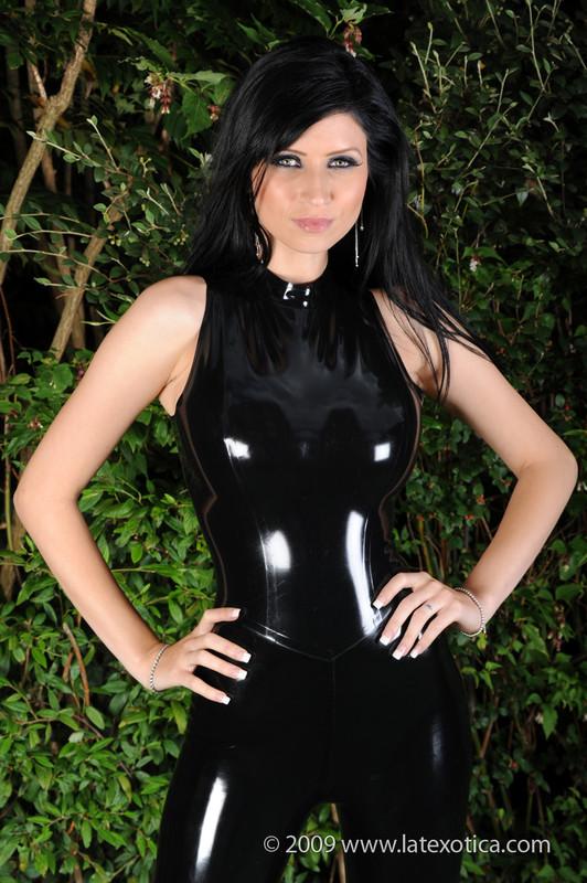 horny lady Anastacia in black latex bdsm uniform