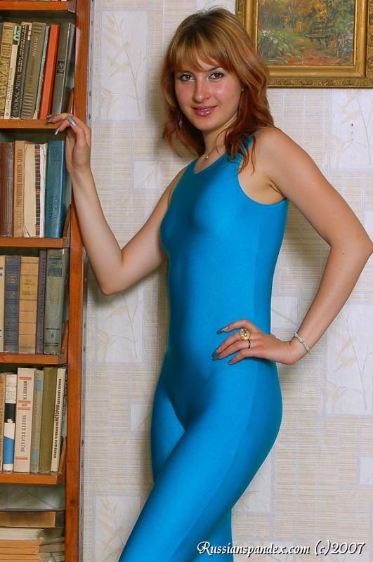 cute slavic babe in blue unitards
