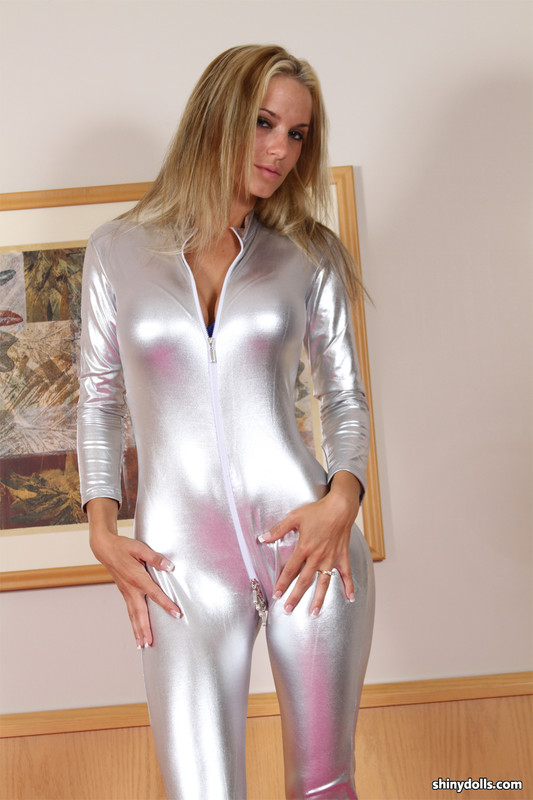 blonde model CupCake in naughty shiny catsuit