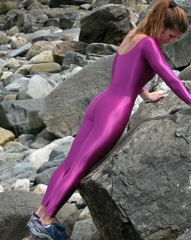 sporty milf in purple bodysuit