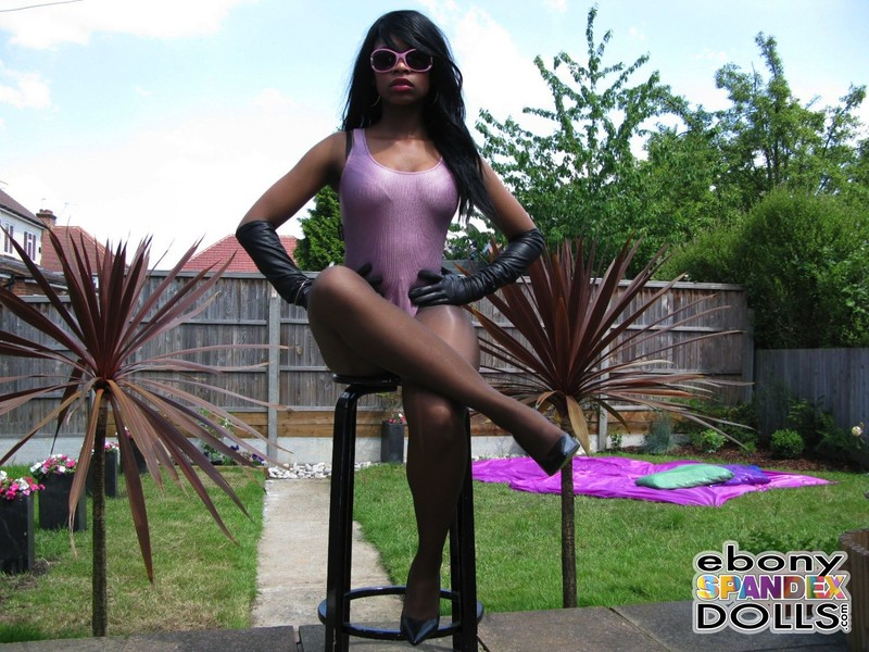 ebony spandex doll Peaches in 1 piece swimsuit & pantyhose