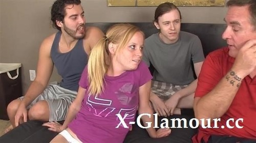 Young Pigtailed Cutie Gets Gang-Banged [HD]