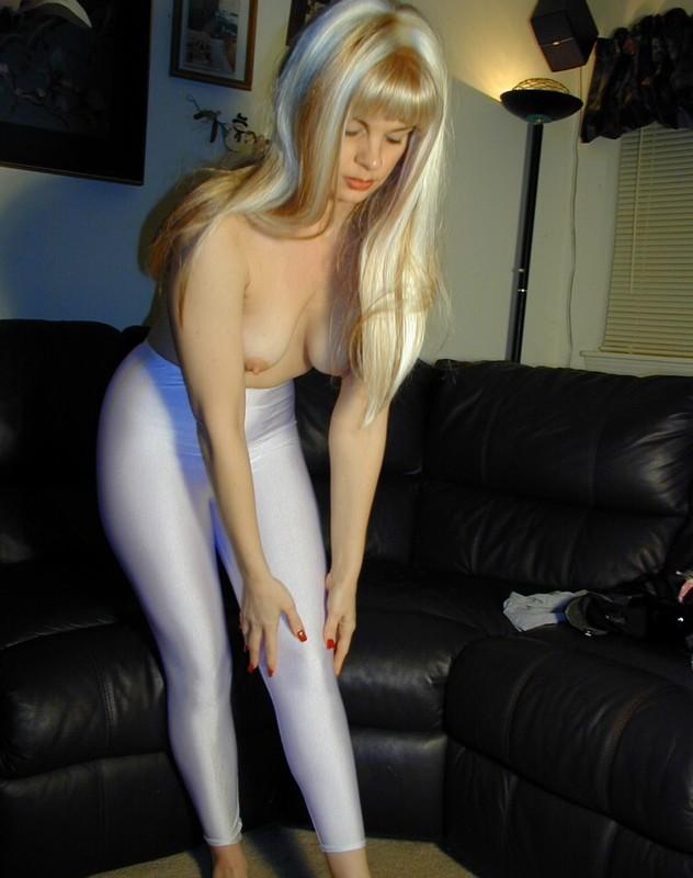 blonde model April in swimsuit & leggings