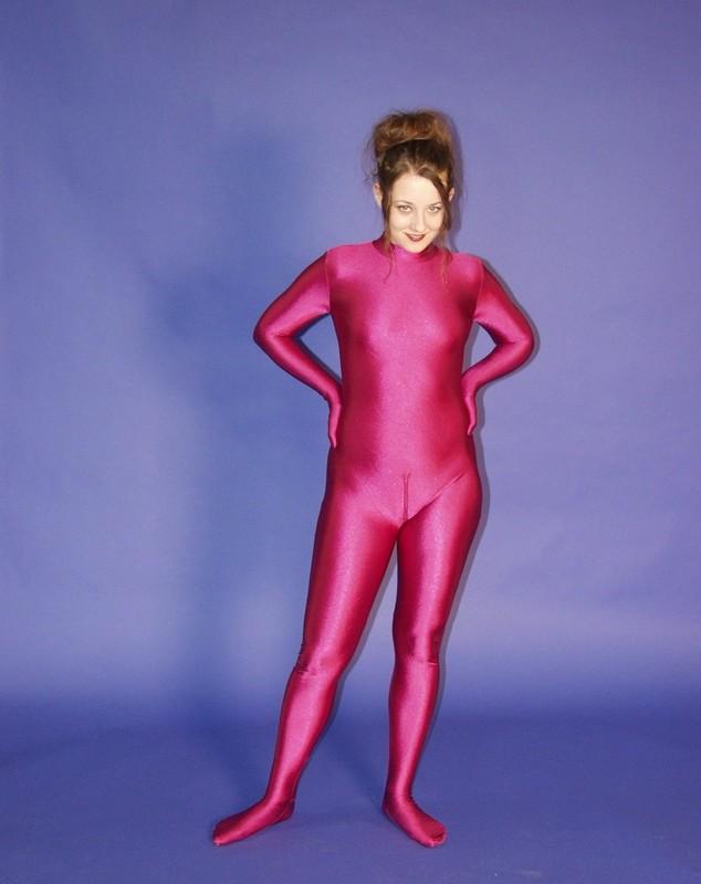gorgeous lady purple zentai catsuit gallery