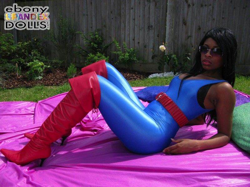 ebony spandex doll Peaches in blue unitards & red boots