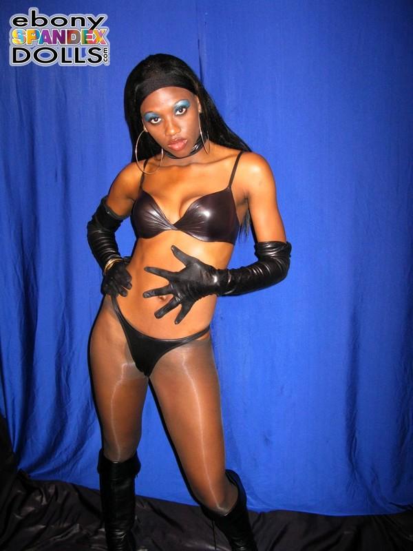 skinny ebony chick Balu in sexy pantyhose & bikini