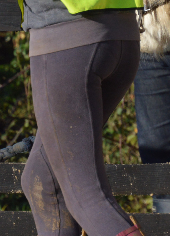 brunette college babe in sexy jodhpurs & dirty boots