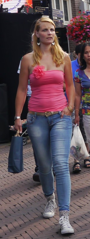 blonde chick in sexy denim pants