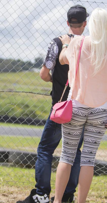 pretty blonde girlfriend in candid leggings