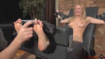Brother makes his bound sister orgasm on the chair from stroking her legs