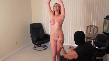 Masked fetishist hypnotizes blonde in office and tickles her armpits torture