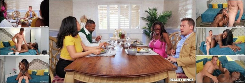 Ebony Mystique - Dinner For Four, Squirting For Two (FullHD)
