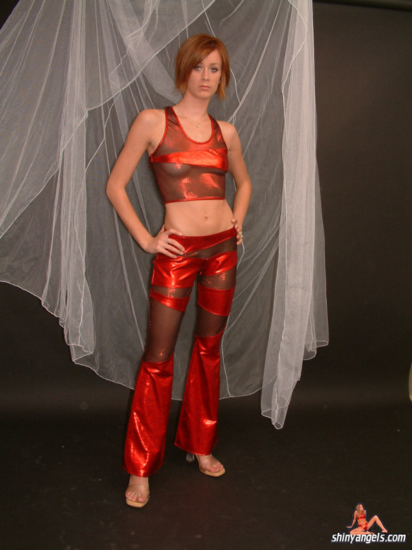 lovely shiny angel in red wetlook spandex