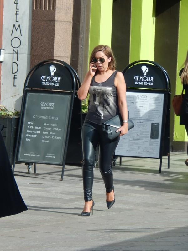 stylish babe in leather leggings & sunglasses