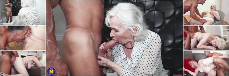 Maria - 87) - Granny next door is washing up her muscled younger friend (HD)