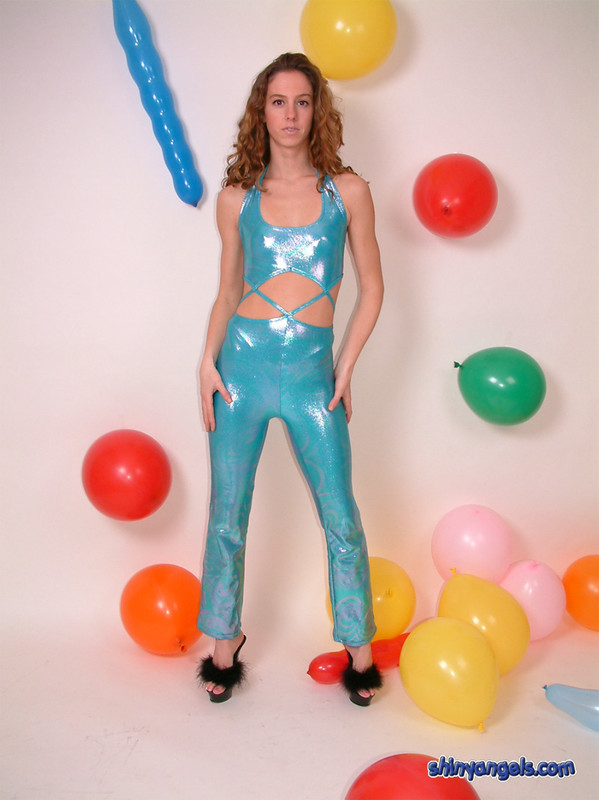 nubile teen in turquoise wetloot outfit
