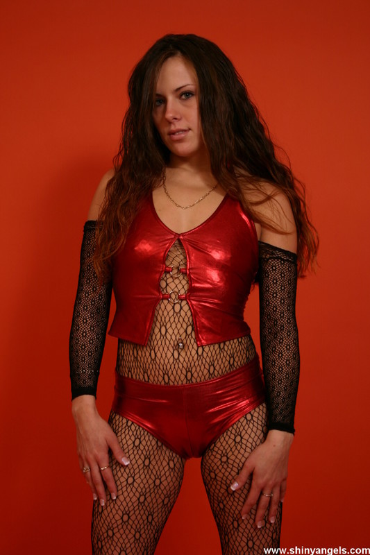 shiny angels model in red lingerie & naughty pantyhose