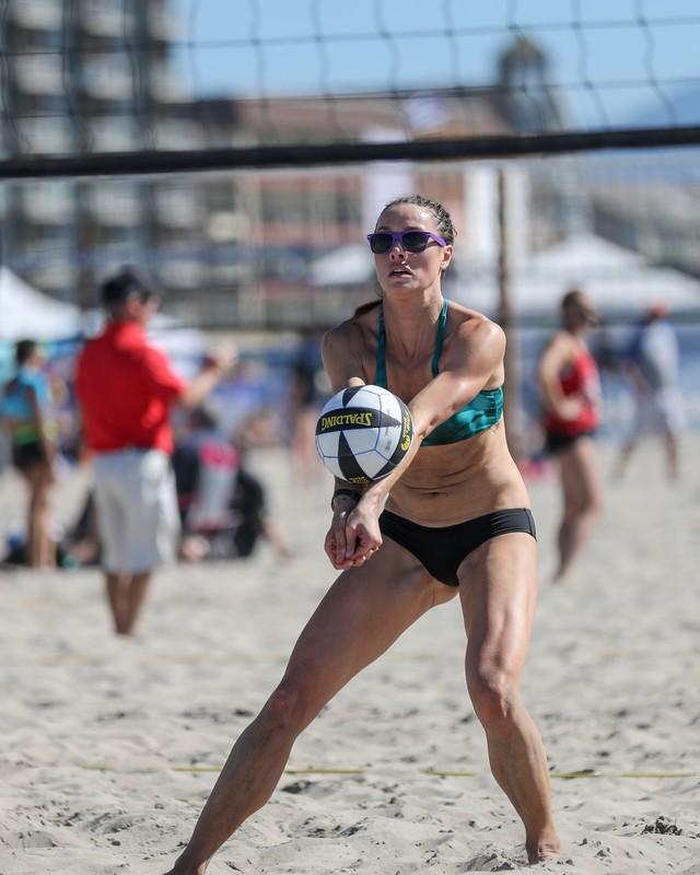 seaside volleyball girls in candid bikini