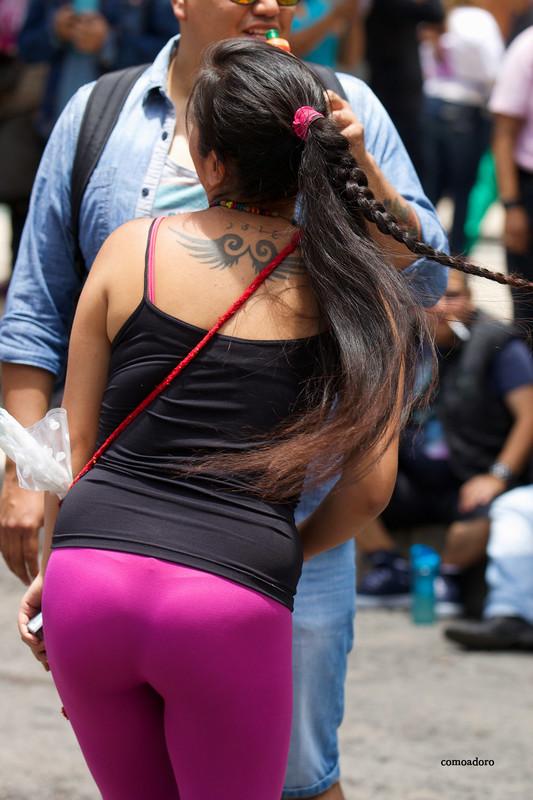 latina babe in candid purple leggings
