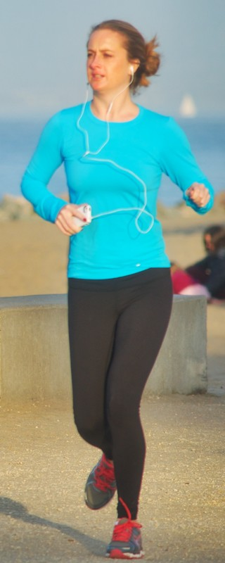 lovely jogger milf in black yoga pants