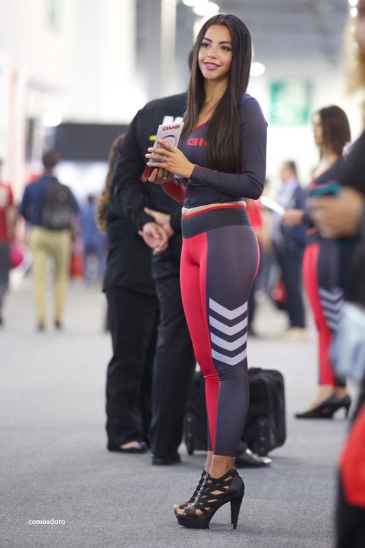 promo girl in candid tight leggings