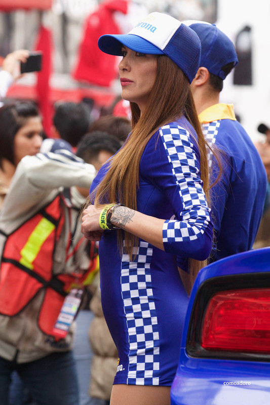 corona beer promo babe in candid blue uniform