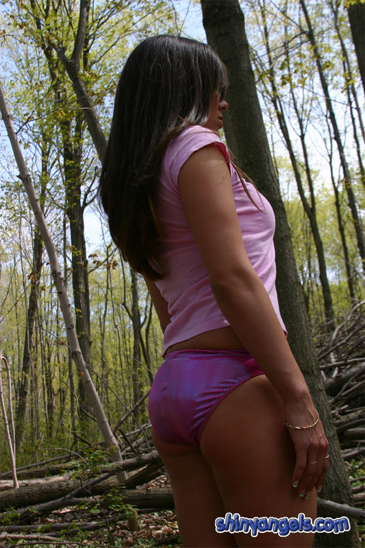 forest angel in purple shorts