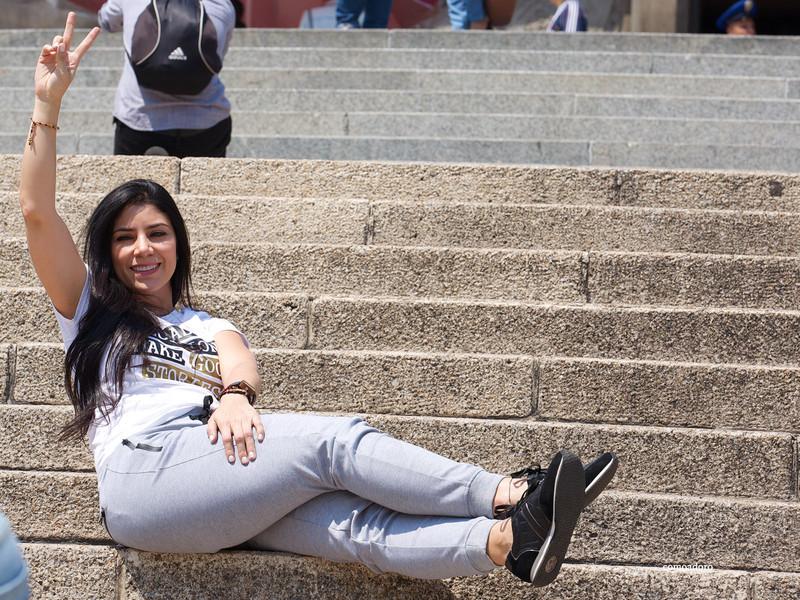latina hottie in grey sweat pants
