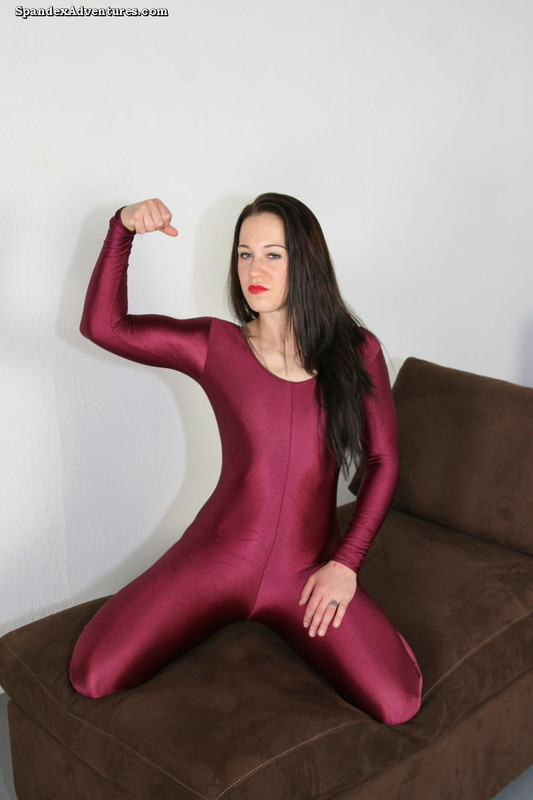 majestic babe in maroon catsuit