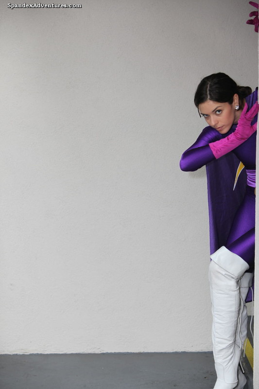 adventure girl in purple lycra bodysuit