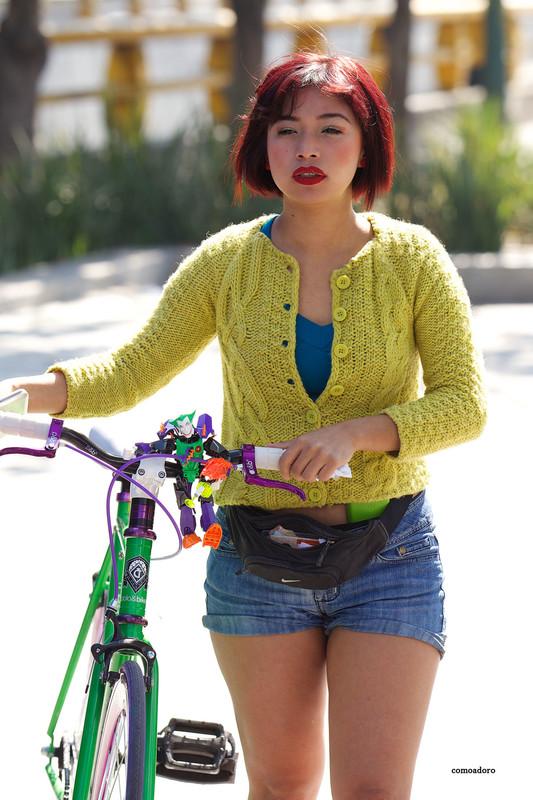 cyclist babe in sexy denim shorts