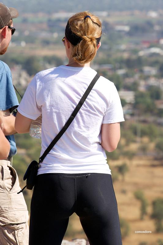tourist hottie in black shiny leggings