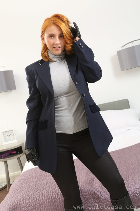 blonde equestrian lady Robyn J in boots & tight pants