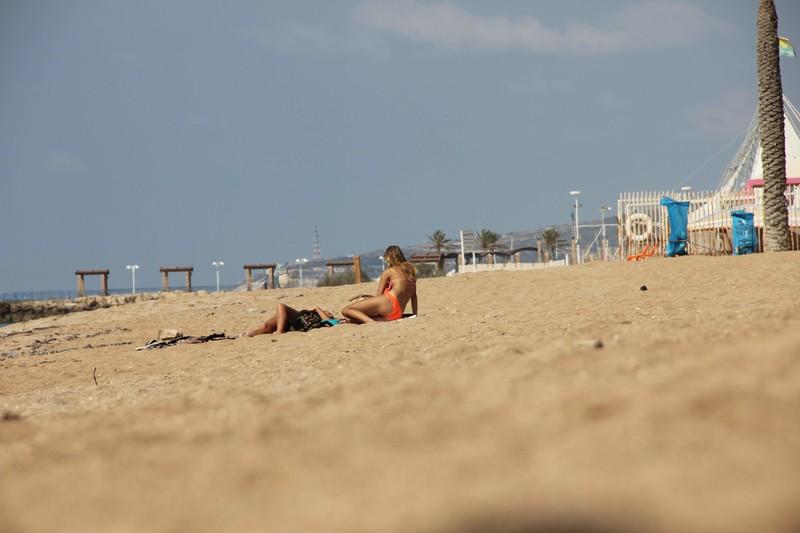 lovely coed teen on the beach