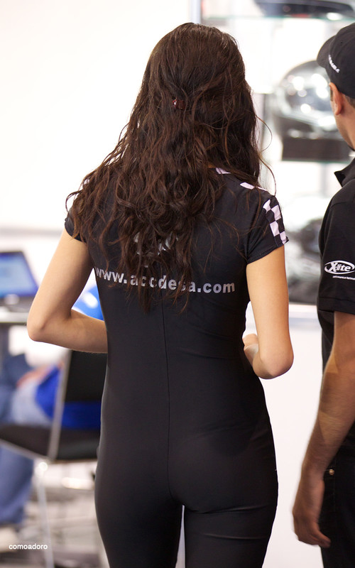 car show lady in tight black outift