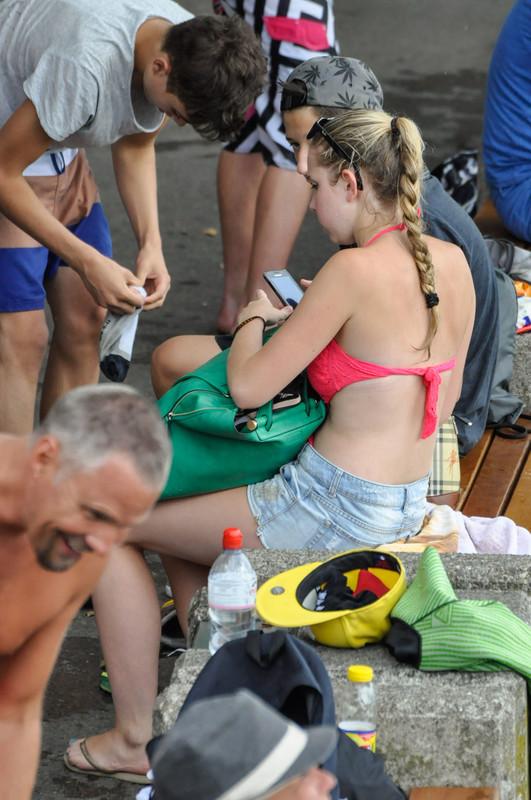 sweet college girl in 1 piece swimsuit & denim shorts