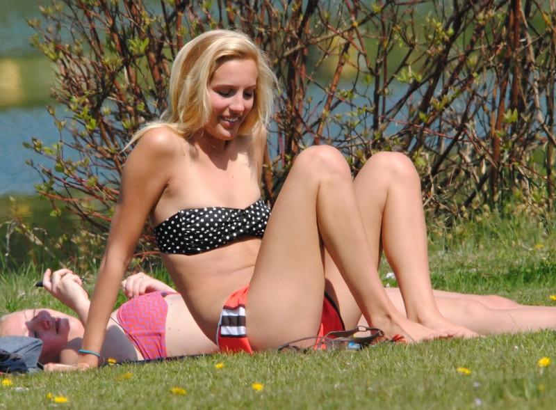 topless babe in orange bikini