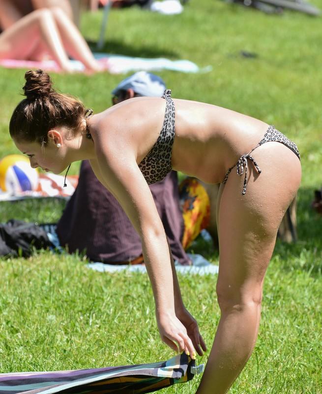 3 college bikini girls in city park