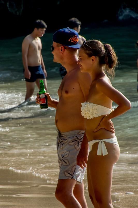 gorgeous babe in white thong bikini