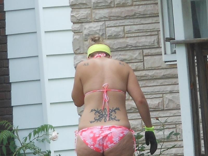 cute milf bikini gardening pictures